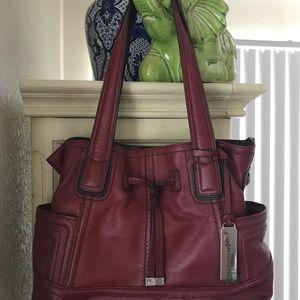 Red Leather Handbag/Red Leather Tote/Tignanello